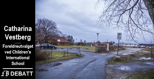 Det er i området midt på bildet det er konflikt mellom Children's International School (som  ses til venstre) og tomten der det planlegges dagligvarebutikk.