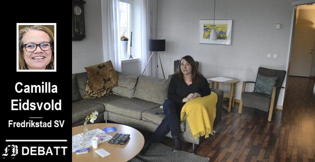 Daglig leder Marie Lindén fotografert i «hjemmekoselige» omgivelser på krisesenteret.  – De siste seks månedene har senteret vært overfylt, opplyser Camilla Eidsvold.