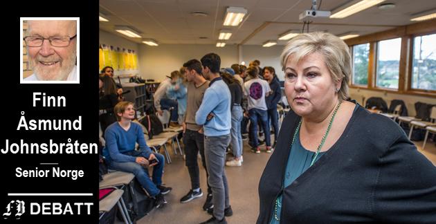 Erna Solberg under populært besøk på Haugeåsen ungdomsskole. Nå vil Finn Åsmund Johnsbråten og Senior Norge at hun skal få lavere lønnstillegg.