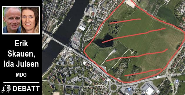 Gudebergjordene ligger «midt i smørøyet» ved brohodet og Sarpsborgveien. – Her ønskes det næringsutvikling. Da er det underlig at landbrukssektoren ikke ses på som egentlig næring, skriver Skauen og Julsen.