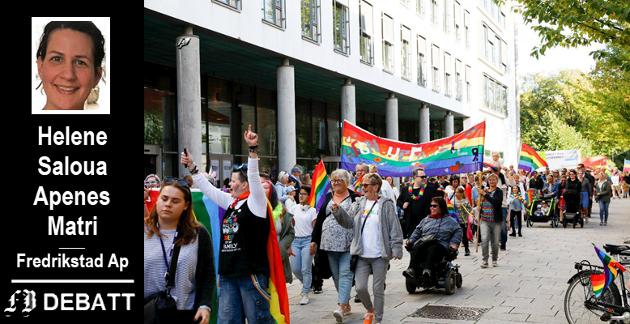 – Fredrikstad Arbeiderparti vil her benytte anledningen til å ønske alle en god Pride-uke. Ta vare på hverandre uavhengig av kjønn og legning, skriver Apenes Matri. Bilde fra fjorårets parade.