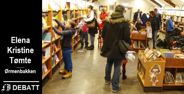 Folksomt:  – Biblioteket er et sted man burde han tilgang til alle etasjene uten hindringer, skriver Elena Kristine Tømte. Bildet er fra et godt besøkt arrangement på barneavdelingen i andre etasje.