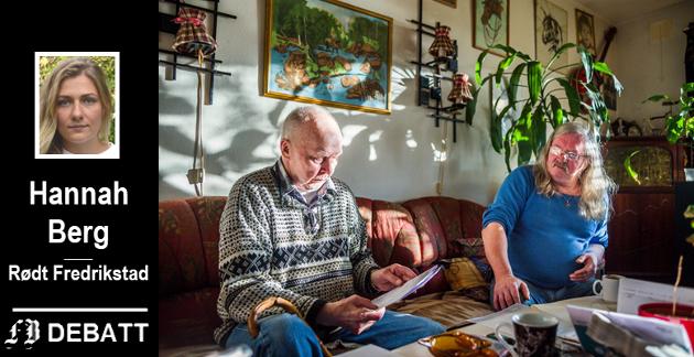 Hannah Berg viser i innlegget til saken om naboene Arvid Markeng (til venstre) og Einar Johansen som fikk sin leie i kommunal bolig økt med henholdsvis 3032 og 2800 kroner per måned.