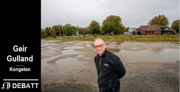 Henning Solgaard ønsker å flytte dagligvarebutikken sin til området i bakgrunnen, slik at den blir nærmeste nabo til Children's International School.  – Trenden innen handel er nå er å gå bort fra å kjøre avgårde med bil til kjøpesenter, heter det innlegget.