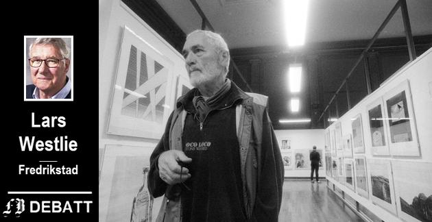 Herman Hebler fortalte om stort besøk og rekordsalg av kunst ved den 9. Internasjonale Grafikktriennalen på Fredrikstad bibliotek, august 1989. Lars Westlie er skuffet over at Heblers ønske om et fast galleri ikke er nærmere realisering.