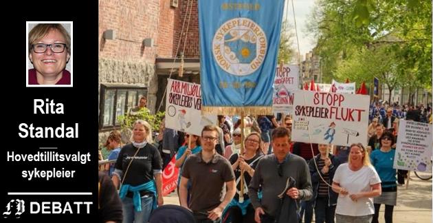 NSF Fredrikstad i tog 1. mai. – Hvordan rekruttere og beholde sykepleiere er like viktig ved markering av den internasjonale kvinnedagen 8. mars, mener Rita Standal.