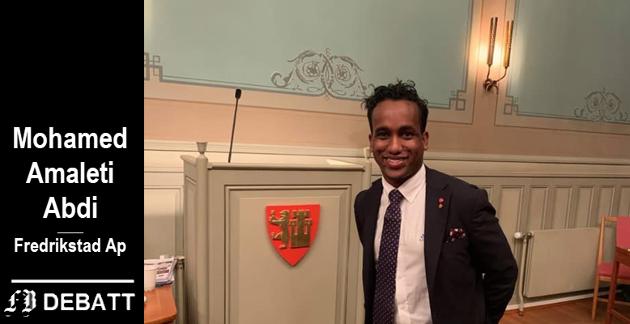 Mohamed Amaleti Abdi kom til Norge som enslig, mindreårig flyktning. I dag sitter han i Fredrikstad bystyre. Her forteller han at 'dugnad' var det første ordet han lærte av norsklæreren.