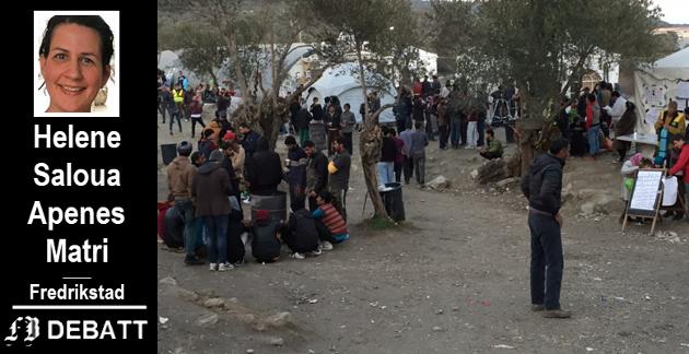 Flyktninger på Lesvos, Helles, i romjula 2015 da FB-journalist Lill Mostad var på reportasjetur der. Rapportene sier at forholdene har blitt atskillig verre siden den gang.