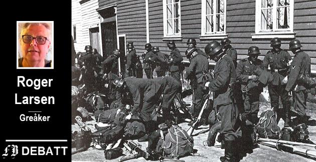 Tyske soldater, Hitlers menn, utenfor Infanterikasernen i Gamlebyen. Roger Larsen mener de bragte død til langt flere enn mange som gjorde aktiv krigsmotstand.