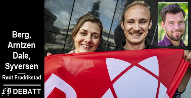 Brevforfatterne er Hannah Berg, Arntzen Dale og Dan André Syversen (innmontert), alle bystyremedlemmer for Rødt Fredrikstad.