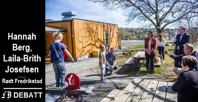 ÅPNET TORSDAG: Ungene i Trosvik barnehage fikk besøk av blant andre ordfører Jon-Ivar Nygård på åpningsdagen i forrige uke. I innlegget reagerer Rødt på at smitteverntiltakene medfører slitasje og usikkerhet for ansatte.