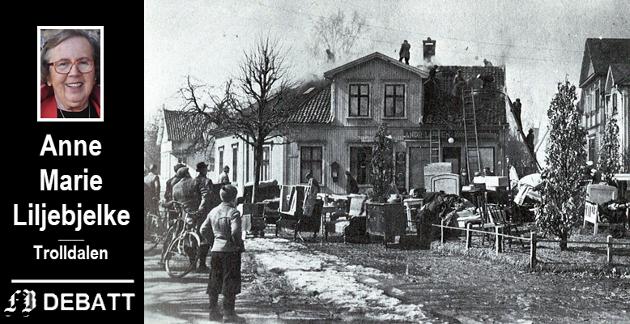 Bombeherjet.  Dette huset i Peter Waagesgate 1 like ved Fredrikstad jernbanestasjon  var blant dem som ble rammet i det tyske bomberaidet.  «Hvor skulle de? Hva ville hende? Hva var krig?» tenkte åtte år gamle Anne Marie da tysk fly kom lavt over Trolldalen.