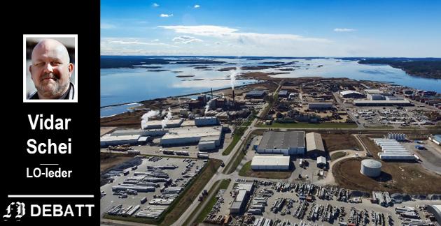FULLT PÅ ØRA: Et område ved Frevar (i venstre bildekant) er eneste utbyggingsmulighet på Øra. Her vil Frevar bygge nytt renseanlegg og Batteriretur vil utvide med en ny fabrikk. Vidar Schei er oppgitt over  fylkesmannen som sier nei.