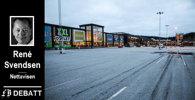Koronastille ved Nordby shoppingsenter.  Kommende fredag får vi vite om norske myndigheter strekker ut en hjelpende hånd til   hardt rammede  Strømstad.