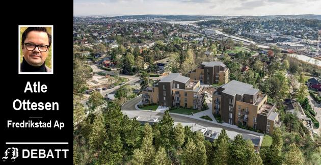 Små blokker i landlige omgivelser på Haraldåsen i Pettersand skal stå ferdige neste år.  – Vi ønsker utvikling i hele Fredrikstad kommune, skriver Ottesen.