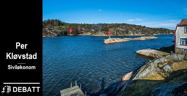 Brevforfatter Per Kløvstad melder seg på i striden om høyspentmaster i Skjelsbusund. De to røde pilene peker på gule skilt som viser at det høyspenttrekk i sjøen. – Det ligger allerede en kabel og trasé er ferdig på begge steder av sundet. Gravekostnader blir derfor minimale, skriver Kløvstad.