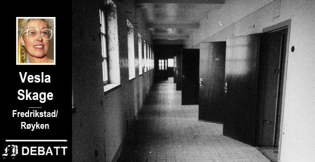 TRYGG PÅ «GÆRNEHJEMMET»: En enecelle på sykehuset på Veum bød på et sikkert opphold for Vesla Skages far. Bilde av en sykehuskorridor på 80-tallet da tittel på reportasjen var at dørene ble åpnet ved avdelingen. Porterttbildet av forfatteren er fra samme tiår.