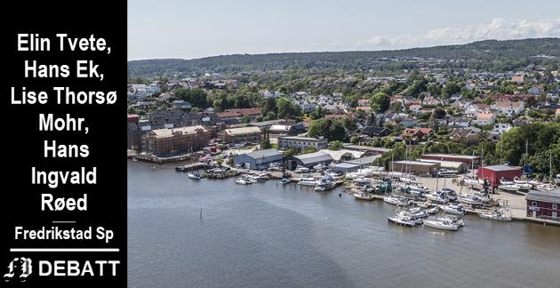 Senterpartiet vil beholde området til Fredrikstad Marineservice midt på bildet som næringsområde, og står  dermed utenfor flertallssamarbeidet i denne saken.
