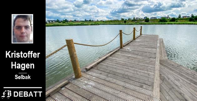 Sorgenfridammen frister til bading på varme sommerdager, men utbygger sier at vannkvaliteten er uavklart og at dammen ikke er ment for bading.