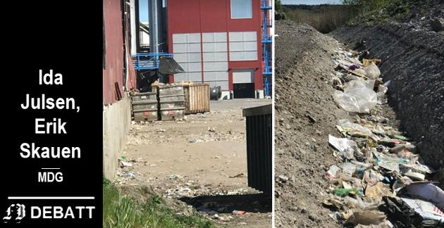 Forsøpling ved Øra-bedrifter er fortsatt et problem, ifølge rapporten fra Fredrikstad kommune. Disse bildene fra rapporten viser søppel ved et åpent lager og en grøft ved Østfold Gjenvinnings tomt.