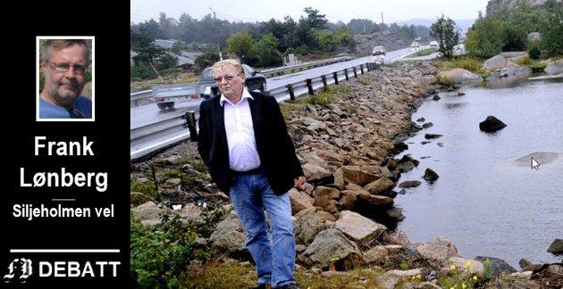 Hvalers forrige ordfører, Eivind Borge, på befaring på Stokken. Han støttet velforeningens ønske om lavere fartsgrense om sommeren.