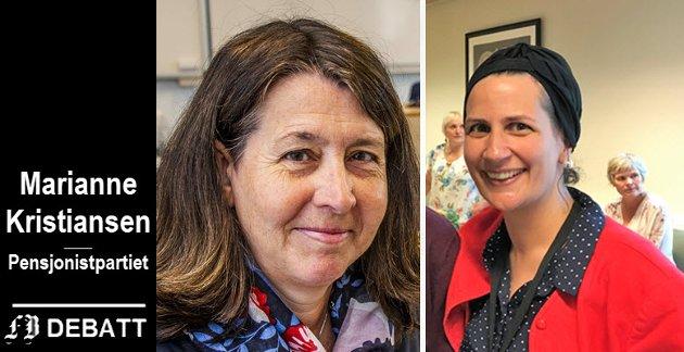 Marianne Kristiansen (til venstre) godtar ikke fremstillingen til Helene Saloua Apenes Matri som leder i helse- og velferdsutvalget i Fredrikstad kommune.