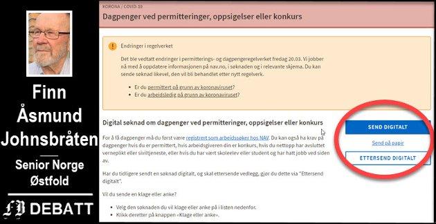 Digitale NAV. Bildet viser skjema for dagpenger ved permitteringer, oppsigelser eller konkurs med digital innsending som foretrukne  valg.