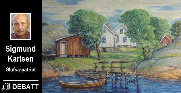 Dette bildet av Pynten, malt av Erling Andreassen i 1983, pryder forsiden av boken Sigmund Karlsen anbefaler i innlegget, «Langøya et sted på Kråkerøy».