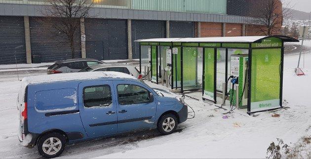 Ladestasjonen på CC Gjøvik