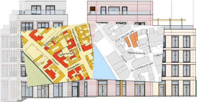 Inspirasjonen: Om man ser på et kart av byen vår fra 1912 kan man se tomtestrukturen som var i kvartalet for 100 år siden. Den gangen het det Mellemgaden, og det var små hus med bakgårdsbygg som regjerte. Inne mellom gårdene var det en åpen plass, og snarveier gjennom bebyggelsen Det er dette som som har vært inspirasjon for Nygaardsplassen-prosjektet slik det nå vokser frem, skriver arkitekten i denne kronikken.