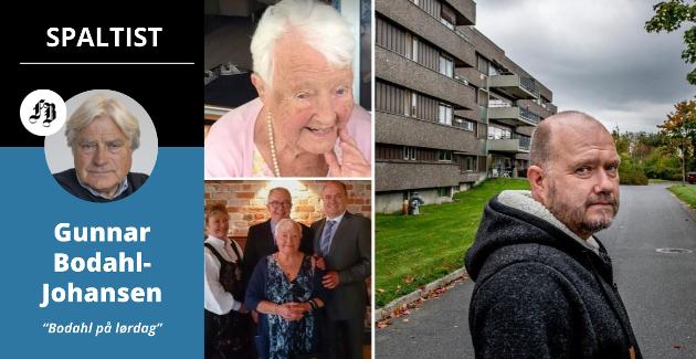 Gunnar Bodahl-Johansen bruker erfaringen Thorbjørn Johansen, hans to søsken og mor Palma (de små bildene) har med eldreomsorgen i Fredrikstad som utgangspunkt for dagens innlegg.