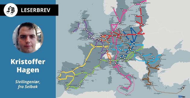 Korridorer i det transeuropeiske transportnettverket TEN-T som fra 2015 er innlemmet i EØS-avtalen. Aksen Skandinavia – Middelhavet (ScanMed) går fra Oslo og Helsingfors til Palermo.