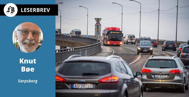 Tett trafikk Fredrikstad-brua