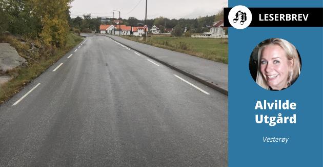 – Ikke behov for fartshumper her ved Utgårdskilen. Det er belastende for yrkessjåfører og en utfordring for snøbrøyting, mener Alvilde Utgård.
