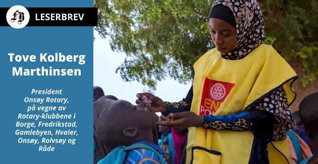 Gjennom 35 år har Rotary arbeidet med å utrydde polio. Over 2.000.000.000 vaksinedoser fordeles årlig i over 60 land.