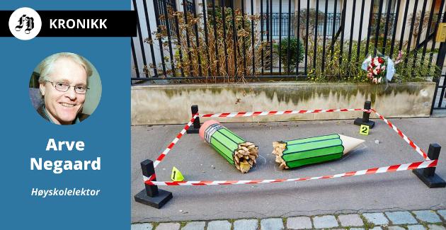 En brukket blyant symboliserer massakren i det franske satiremagasinet Charlie Hebdo. 12 mennesker ble drept i attentatet 7. januar i 2015.