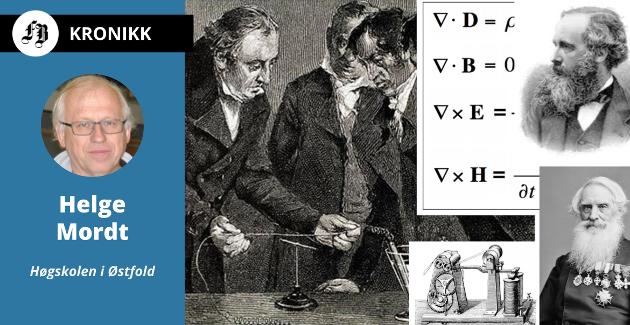 Lengst til venstre i illustrasjonen ser vi illustrasjon av Ørstedts oppdagelse ved observasjon av kompassnål som beveger seg. Øverst til høyre er  Maxwell med kopi av hans ligninger i bakgrunnen. Nederst til høyre Samuel Morse og hans telegrafiapparat.