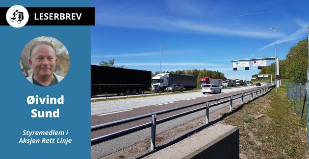 Vogntog over Svinesund. Brevforfatteren vil ha lasten over på godstog, ikke elektriske vogntog.