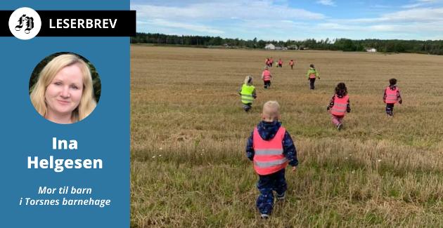På tur i landlige omgivelser.  – Ta ikke tryggheten fra barna våre, skriver mor  Ina Helgesen.