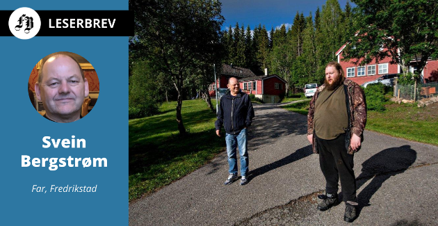 Jostein Bergstrøm er på plass i ny bolig på Hurdal. Pappa Svein er på besøk.
