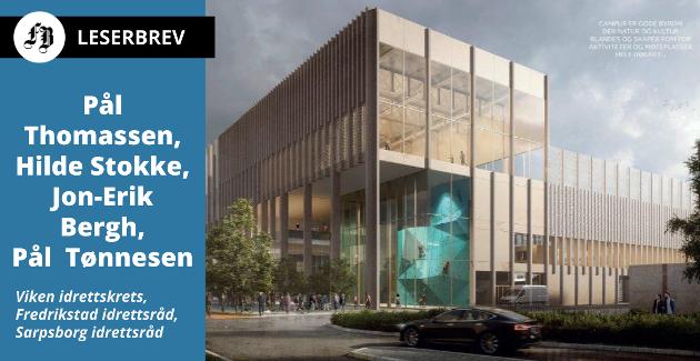 Tegning av «Campus» som vant arkitektkonkurransen. Foran ser vi fasaden/inngangspartiet til den planlagte flerbrukshallen.