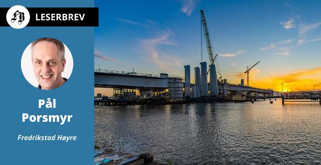 Hisingbron er en løftebru som bygges over Götaelven og blir den nye forbindelsen mellom Göteborg og øya Hisingen. Porsmyr mener den kan være modell for en fremtidig jernbanebru over Glomma i Fredrikstad.