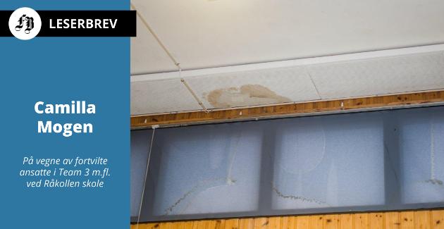 Fuktflekker som følge av taklekkasje i lokalene Råkollen skole bruker i nedlagte Nabbetorp skole.