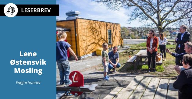 Fagforbundet hyller hverdagsheltene som blant annet jobber i barnehage. Illustrasjon fra Trosvik barnehage som hadde ordførerbesøk da den i april ble gjenåpnet etter koronastenging.