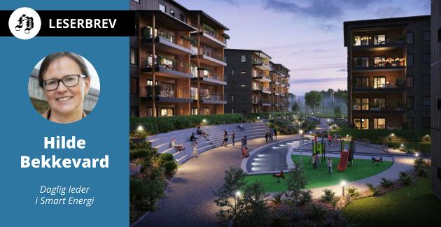 Hus som lager mer energi enn de forbruker, er ett av eksemplene som gjør at Hilde Bekkevard har tro på å nå målet om 60 prosent kutt i klimautslipp i Fredrikstad innen 2060. Her illustrasjon fra Arca Novas «Verksbyen» på Sorgenfri.