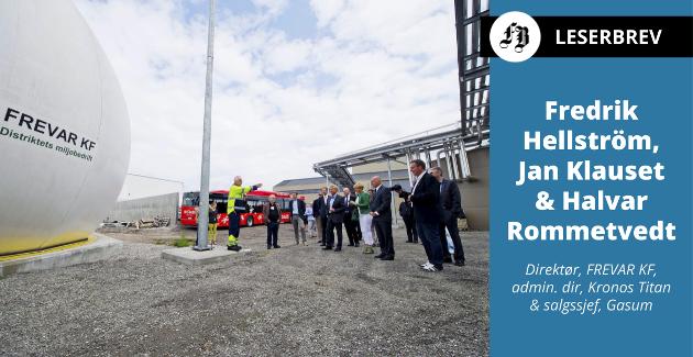 Frevars biogassanlegg på Øra, bilde fra åpningen i juni 2013. Industriområdet har i dag et gassnett med fem bedrifter tilkoblet.