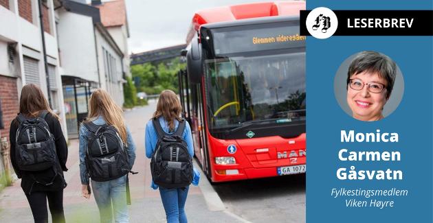 Monica Carlmen Gåsvatn hevder at de rødgrønne ser på elever som en vare som bør leveres til lavest mulige transportkostnader.
