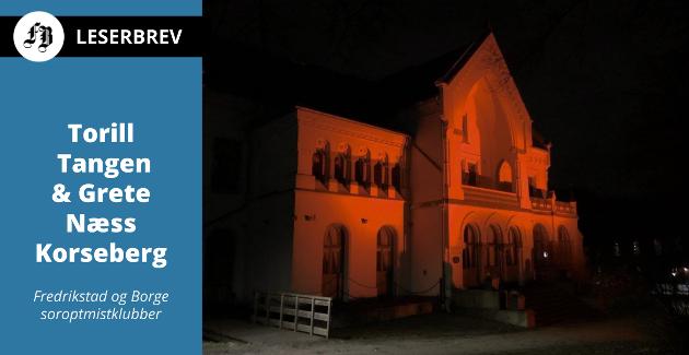 Villa Lykkeberg lyssatt i oransje for tredje året på rad.