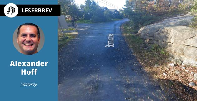 Innlegget etterlyser svar om fartshumper på Vesterøy. Bildet viser parti av Stormmusbrinken.