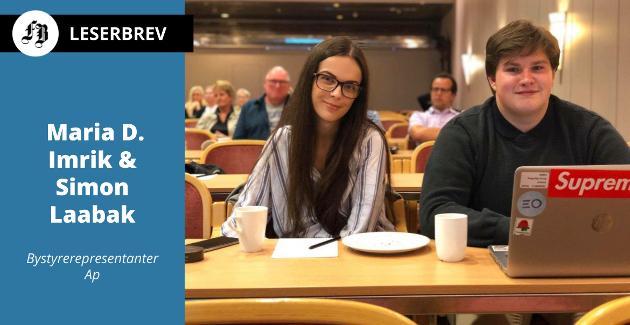 Maria og Simon under et møte for noen år siden da de ble løftet som ungdomskandidater for AUF til bystyret.